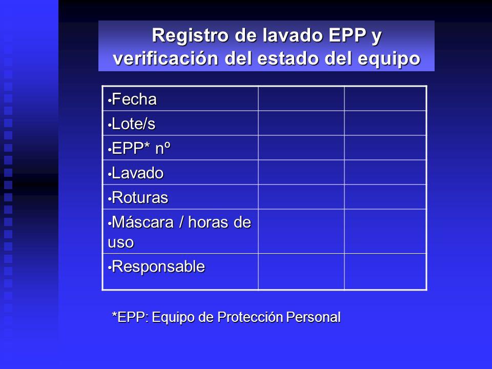 Lote/s Lote/s EPP* nº EPP* nº Lavado Lavado Roturas Roturas Máscara / horas de uso Máscara / horas de uso Responsable Responsable Registro de lavado E