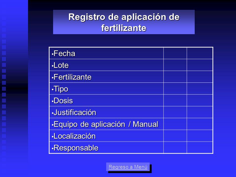 Fecha Fecha Lote Lote Fertilizante Fertilizante Tipo Tipo Dosis Dosis Justificación Justificación Equipo de aplicación / Manual Equipo de aplicación /