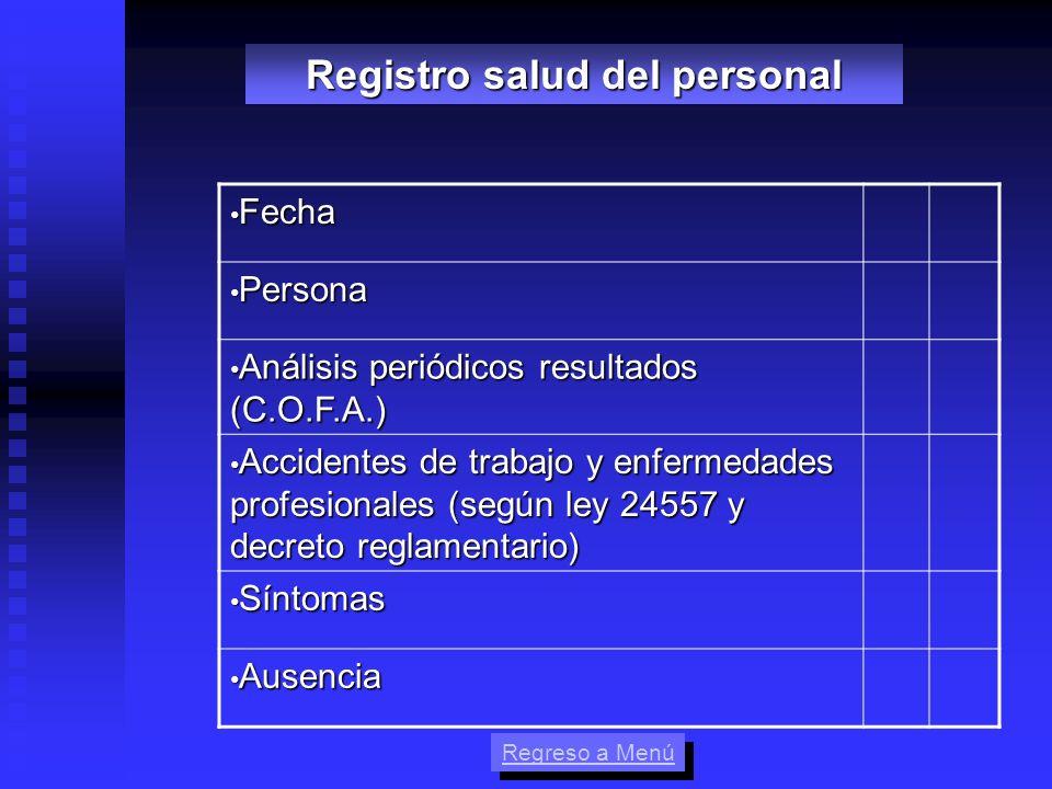 Fecha Fecha Persona Persona Análisis periódicos resultados (C.O.F.A.) Análisis periódicos resultados (C.O.F.A.) Accidentes de trabajo y enfermedades p