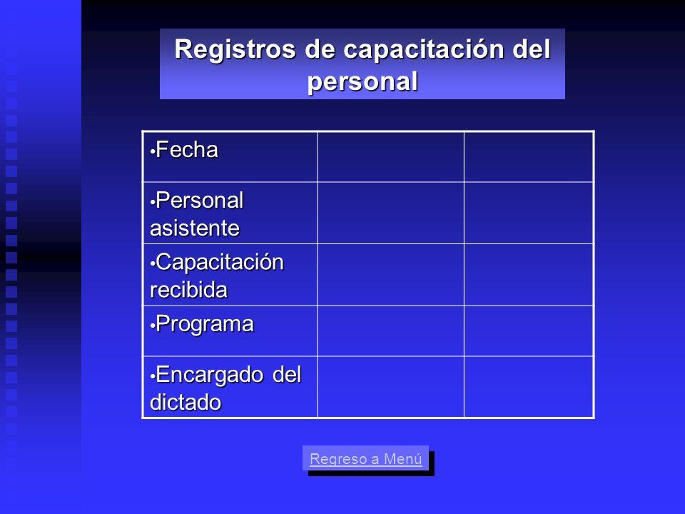 Fecha Fecha Personal asistente Personal asistente Capacitación recibida Capacitación recibida Programa Programa Encargado del dictado Encargado del di