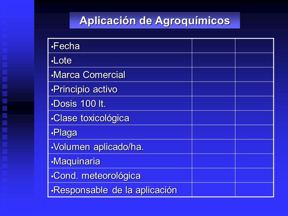 Fecha Fecha Lote Lote Marca Comercial Marca Comercial Principio activo Principio activo Dosis 100 lt. Dosis 100 lt. Clase toxicológica Clase toxicológ