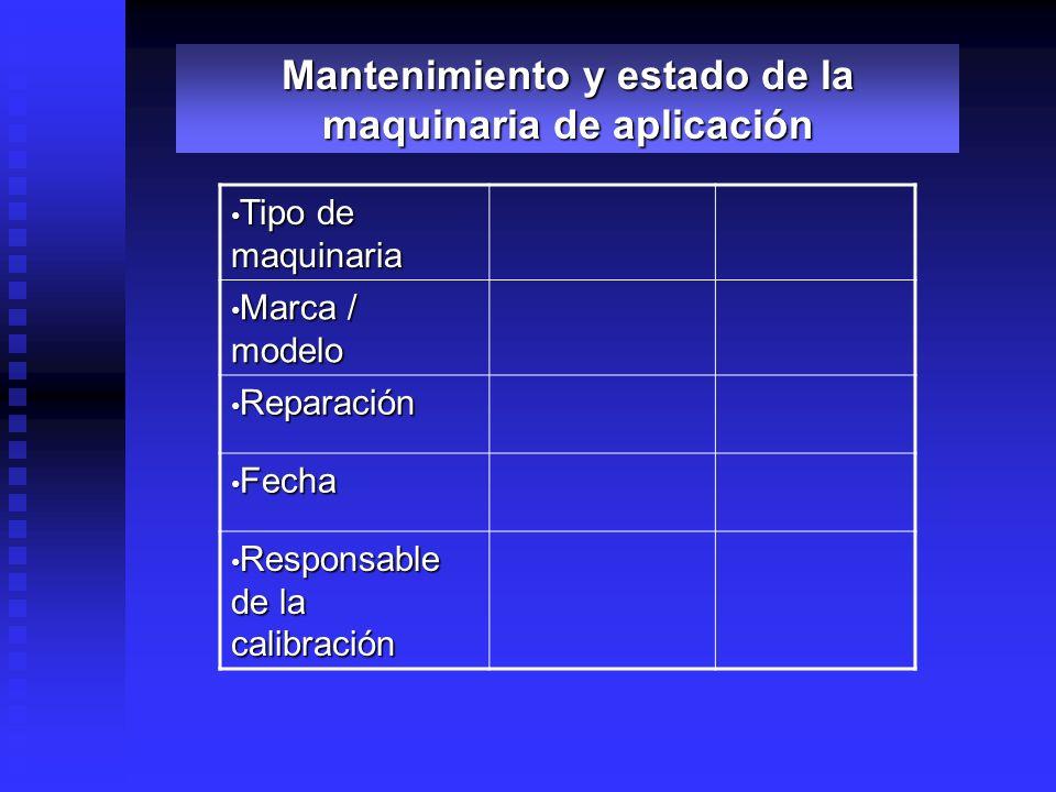 Tipo de maquinaria Tipo de maquinaria Marca / modelo Marca / modelo Reparación Reparación Fecha Fecha Responsable de la calibración Responsable de la