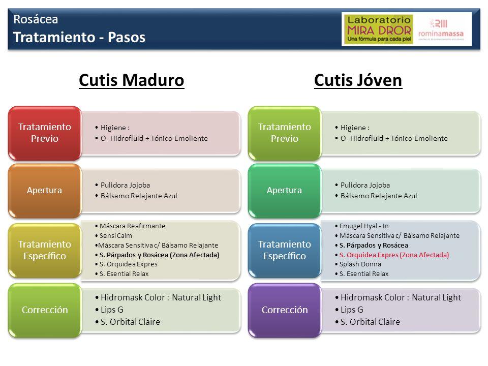 Rosácea Tratamiento - Pasos Rosácea Tratamiento - Pasos Cutis Maduro Higiene : O- Hidrofluid + Tónico Emoliente Tratamiento Previo Pulidora Jojoba Bál