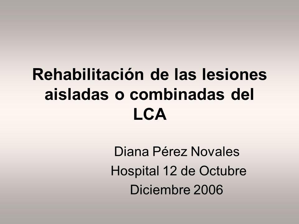 Rehabilitación de las lesiones aisladas o combinadas del LCA Diana Pérez Novales Hospital 12 de Octubre Diciembre 2006