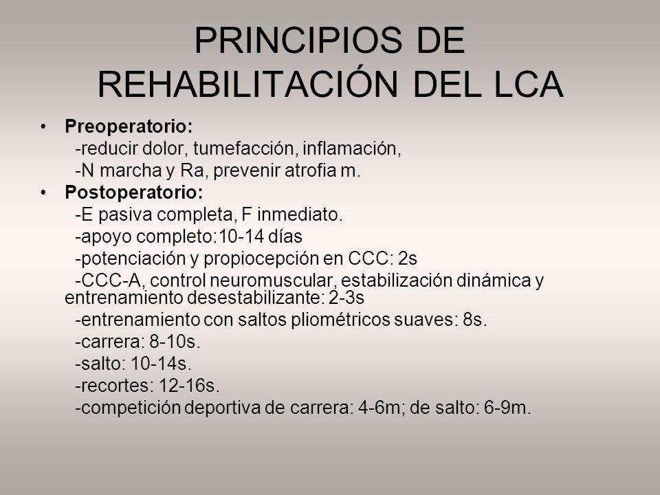 PRINCIPIOS DE REHABILITACIÓN DEL LCA Preoperatorio: -reducir dolor, tumefacción, inflamación, -N marcha y Ra, prevenir atrofia m. Postoperatorio: -E p