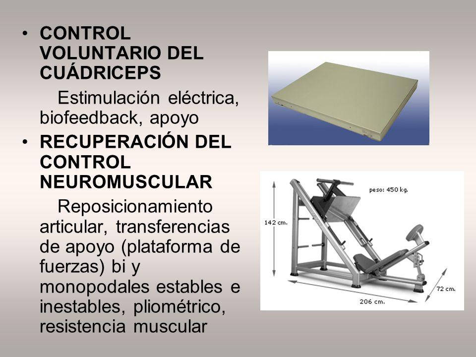 CONTROL VOLUNTARIO DEL CUÁDRICEPS Estimulación eléctrica, biofeedback, apoyo RECUPERACIÓN DEL CONTROL NEUROMUSCULAR Reposicionamiento articular, trans
