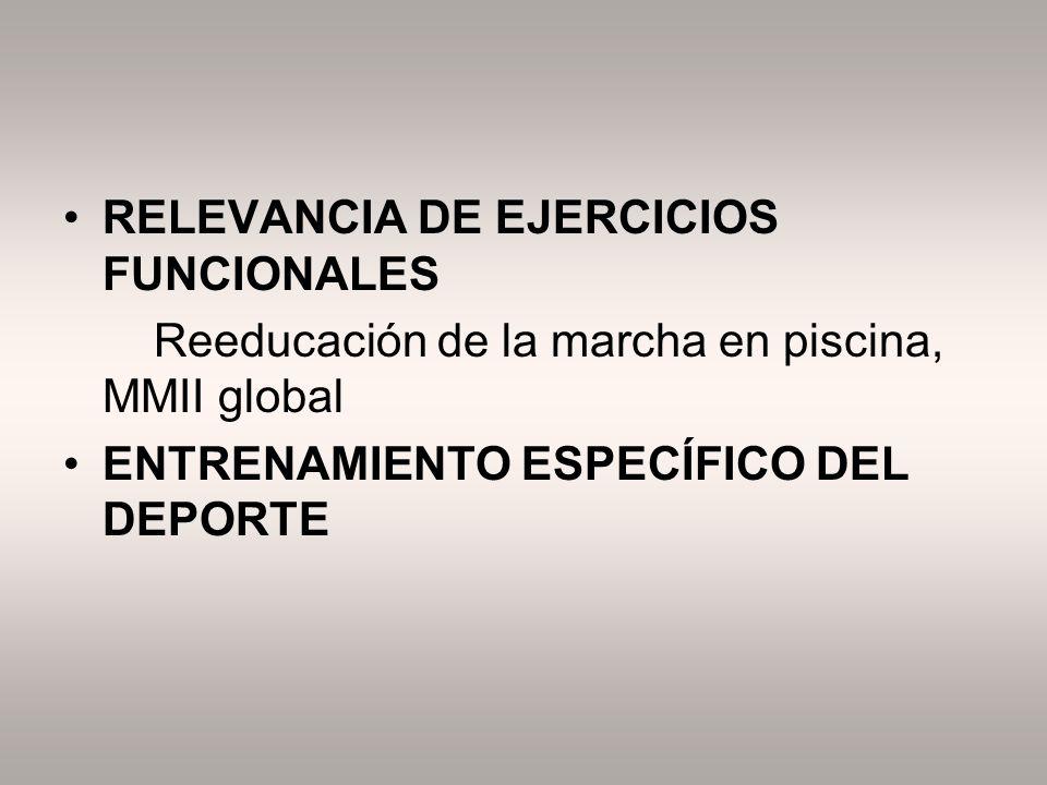 RELEVANCIA DE EJERCICIOS FUNCIONALES Reeducación de la marcha en piscina, MMII global ENTRENAMIENTO ESPECÍFICO DEL DEPORTE