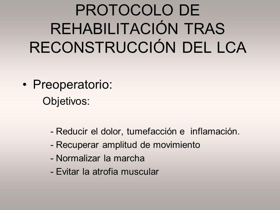 PROTOCOLO DE REHABILITACIÓN TRAS RECONSTRUCCIÓN DEL LCA Preoperatorio: Objetivos: - Reducir el dolor, tumefacción e inflamación. - Recuperar amplitud