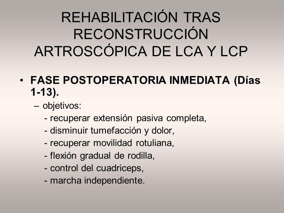 REHABILITACIÓN TRAS RECONSTRUCCIÓN ARTROSCÓPICA DE LCA Y LCP FASE POSTOPERATORIA INMEDIATA (Días 1-13). –objetivos: - recuperar extensión pasiva compl