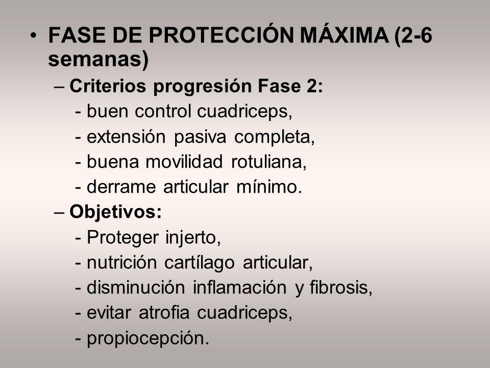FASE DE PROTECCIÓN MÁXIMA (2-6 semanas) –Criterios progresión Fase 2: - buen control cuadriceps, - extensión pasiva completa, - buena movilidad rotuli