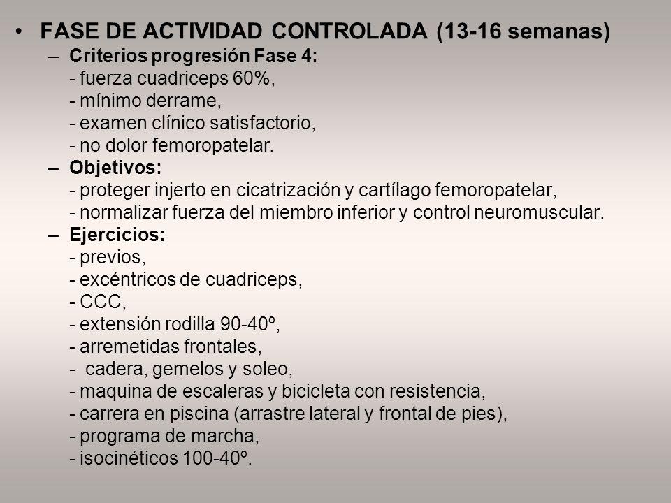 FASE DE ACTIVIDAD CONTROLADA (13-16 semanas) –Criterios progresión Fase 4: - fuerza cuadriceps 60%, - mínimo derrame, - examen clínico satisfactorio,