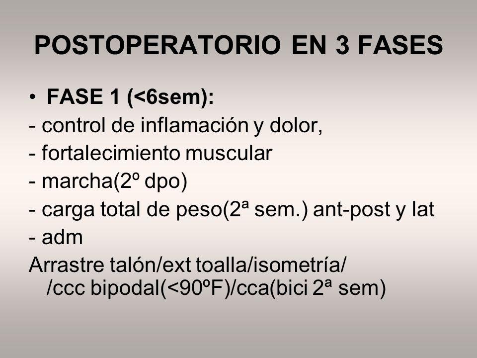 POSTOPERATORIO EN 3 FASES FASE 1 (<6sem): - control de inflamación y dolor, - fortalecimiento muscular - marcha(2º dpo) - carga total de peso(2ª sem.)