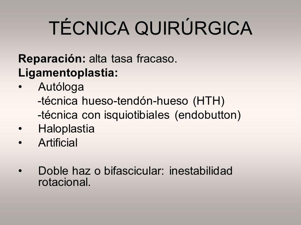 TÉCNICA QUIRÚRGICA Reparación: alta tasa fracaso. Ligamentoplastia: Autóloga -técnica hueso-tendón-hueso (HTH) -técnica con isquiotibiales (endobutton