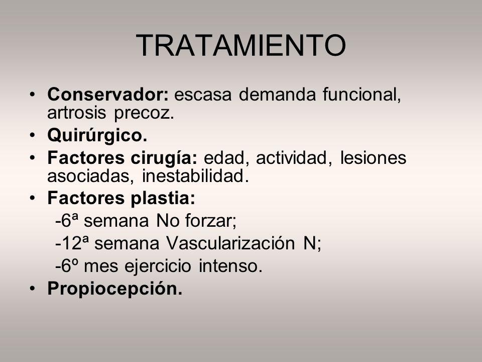 TRATAMIENTO Conservador: escasa demanda funcional, artrosis precoz. Quirúrgico. Factores cirugía: edad, actividad, lesiones asociadas, inestabilidad.