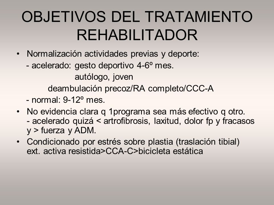 FASE DE PROTECCIÓN MODERADA (7-12 semanas) –Criterios progresión Fase 3: - apoyo completo, - cuadriceps 60%, - no dolor ni derrame.