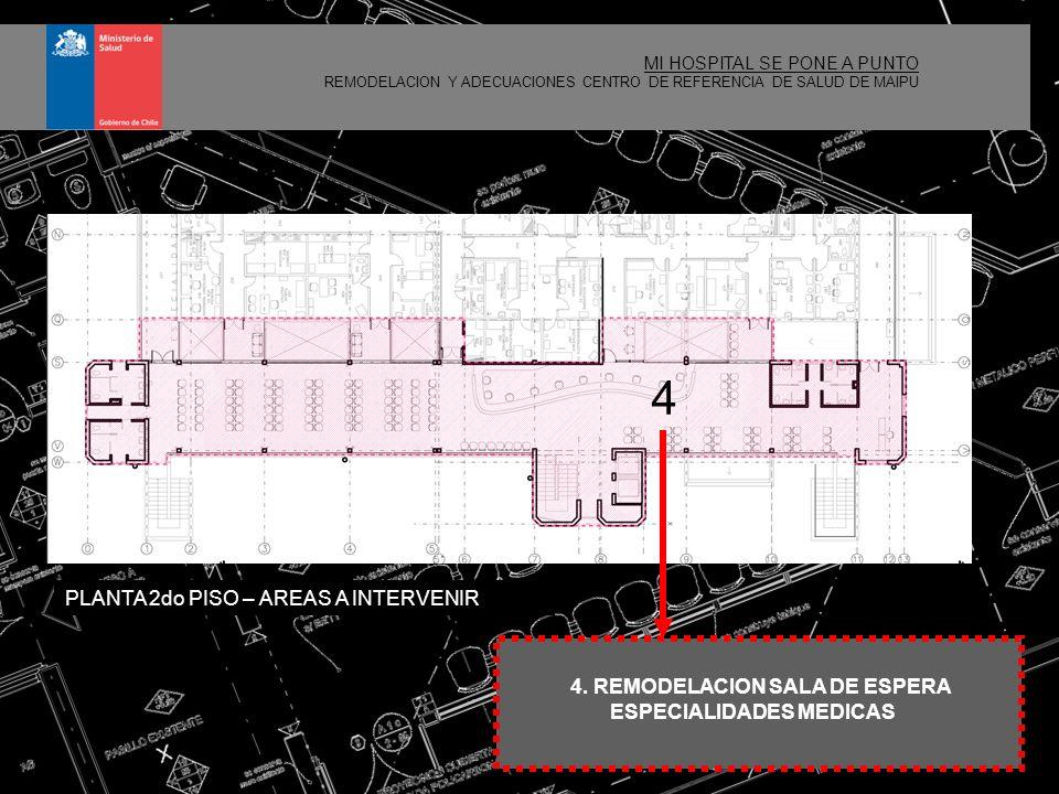 4 MI HOSPITAL SE PONE A PUNTO REMODELACION Y ADECUACIONES CENTRO DE REFERENCIA DE SALUD DE MAIPU 1.REMODELACIÓN Y AMPLIACIÓN SALA DE ESPERA DE URGENCIA EN PRIMER PISO Ampliar la sala de espera a 122 m2 Ampliar el acceso público a urgencias Generar área de recepción para mesón de atención OIRS y la sala de carabinero Despejar área de espera propiamente tal Reparación de los baños existentes Incorporación de un área de baños asociada al hall de acceso Traslado de oficina de calificación de derechos Habilitación de central telefónica Incorporación de nueva señalética PLANTA INTERVENCION N°1 OIRS BAÑOS ESPERA ACCESO