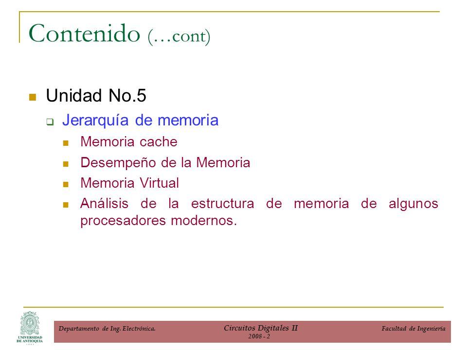 Unidad No.5 Jerarquía de memoria Memoria cache Desempeño de la Memoria Memoria Virtual Análisis de la estructura de memoria de algunos procesadores modernos.