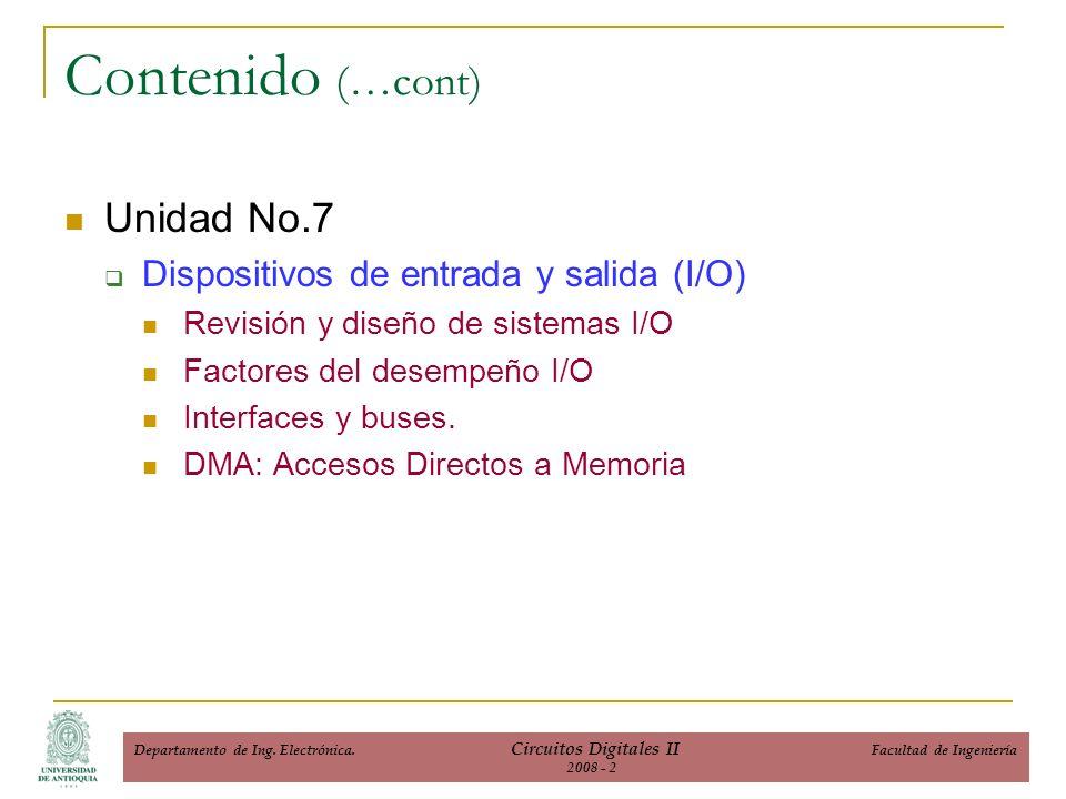 Unidad No.7 Dispositivos de entrada y salida (I/O) Revisión y diseño de sistemas I/O Factores del desempeño I/O Interfaces y buses.