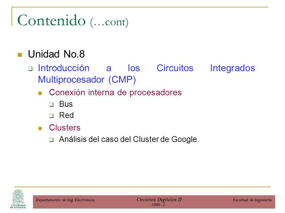 Unidad No.8 Introducción a los Circuitos Integrados Multiprocesador (CMP) Conexión interna de procesadores Bus Red Clusters Análisis del caso del Cluster de Google.