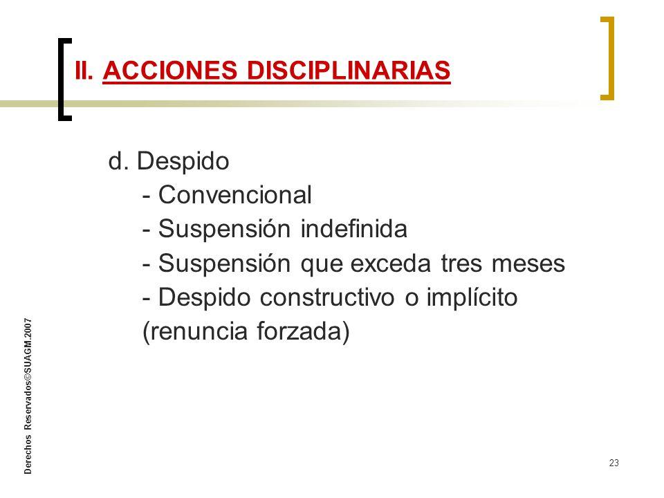Derechos Reservados©SUAGM.2007 23 d. Despido - Convencional - Suspensión indefinida - Suspensión que exceda tres meses - Despido constructivo o implíc