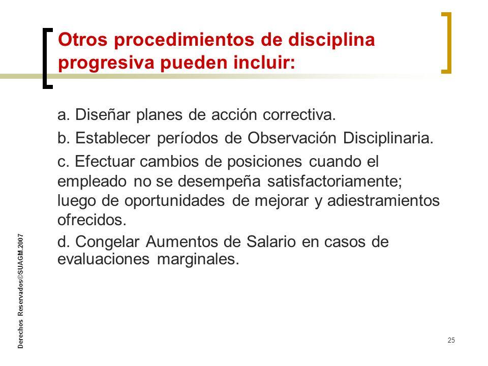 Derechos Reservados©SUAGM.2007 25 a. Diseñar planes de acción correctiva. b. Establecer períodos de Observación Disciplinaria. c. Efectuar cambios de