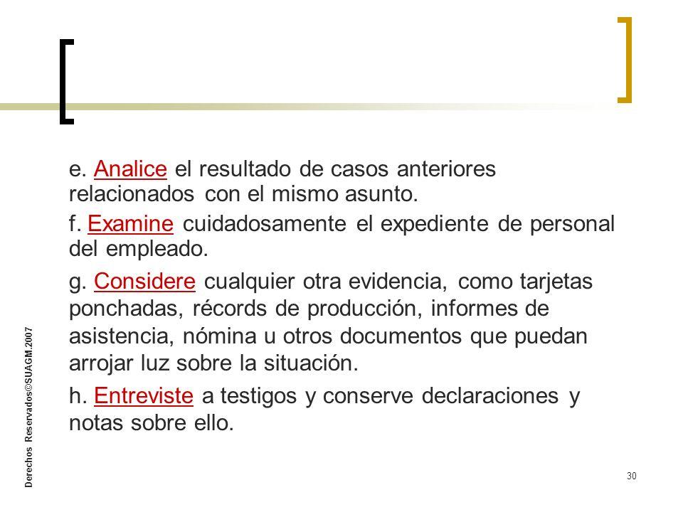Derechos Reservados©SUAGM.2007 30 e. Analice el resultado de casos anteriores relacionados con el mismo asunto. f. Examine cuidadosamente el expedient