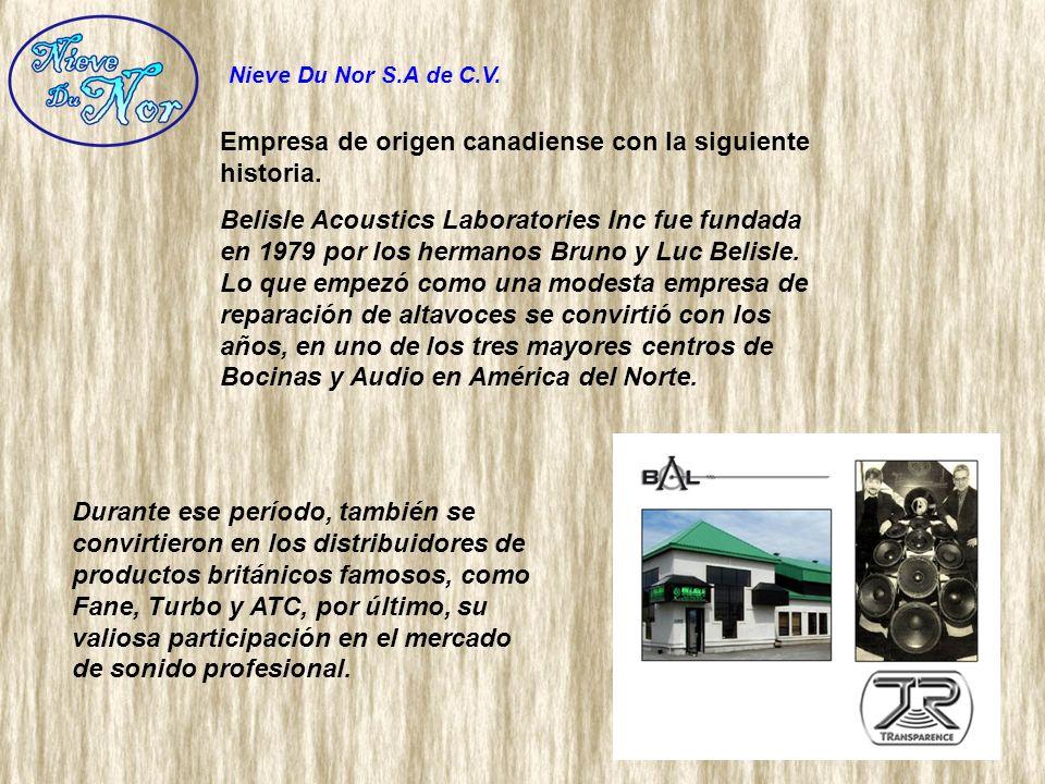 Empresa de origen canadiense con la siguiente historia. Belisle Acoustics Laboratories Inc fue fundada en 1979 por los hermanos Bruno y Luc Belisle. L