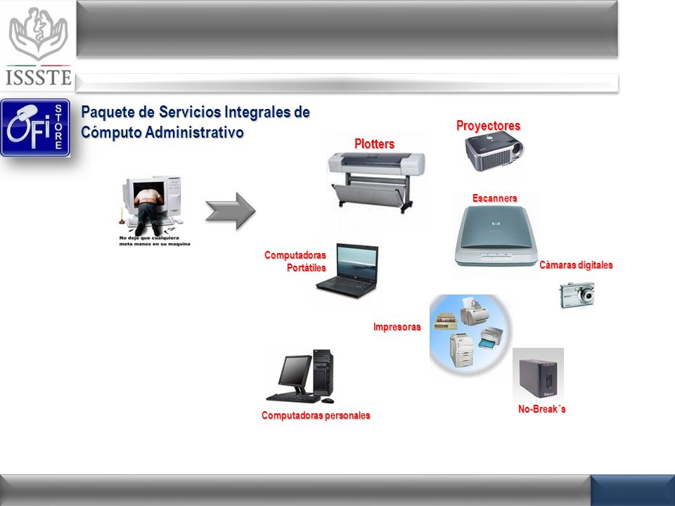 Paquete de Servicios Integrales de Cómputo Administrativo Plotters Proyectores Computadoras Portátiles Impresoras No-Break´s Cámaras digitales Escanners Computadoras personales