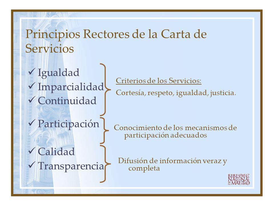 Principios Rectores de la Carta de Servicios Igualdad Imparcialidad Continuidad Participación Calidad Transparencia Criterios de los Servicios: Cortes
