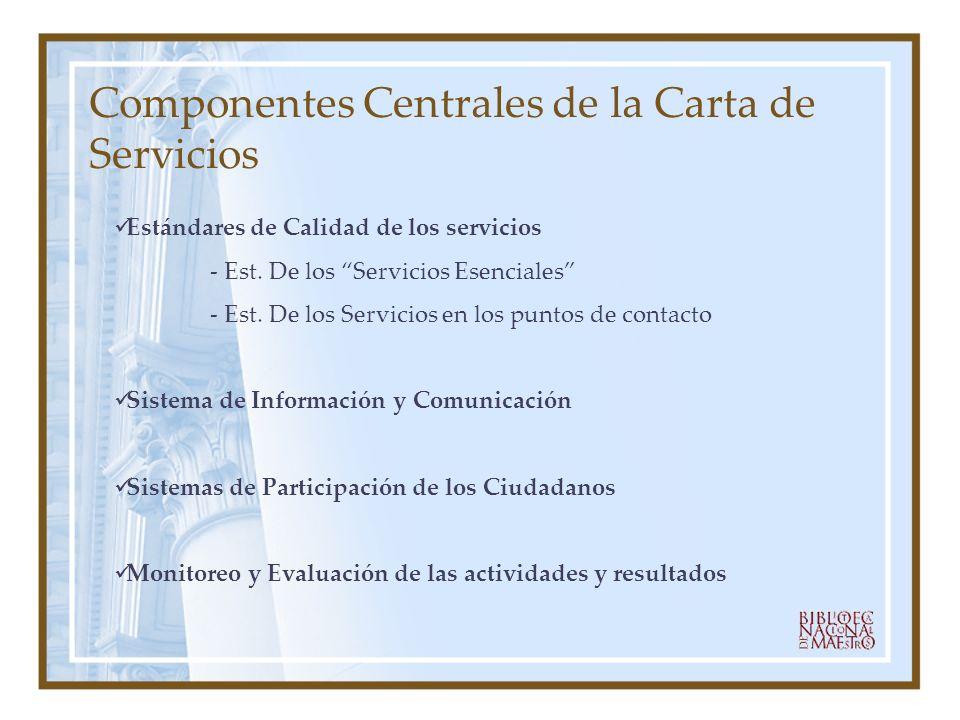 Estándares de Calidad de los servicios - Est. De los Servicios Esenciales - Est. De los Servicios en los puntos de contacto Sistema de Información y C