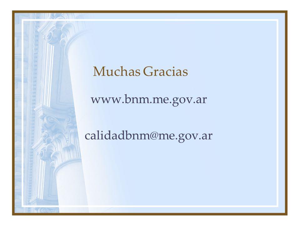 Muchas Gracias www.bnm.me.gov.ar calidadbnm@me.gov.ar
