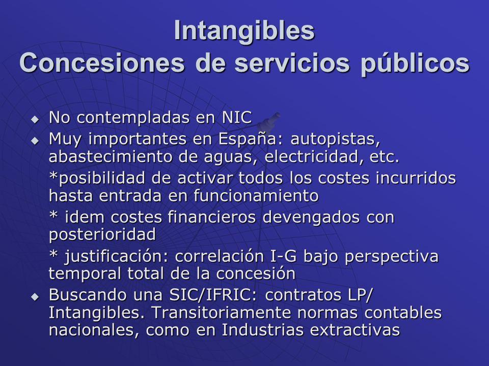 Intangibles Concesiones de servicios públicos No contempladas en NIC No contempladas en NIC Muy importantes en España: autopistas, abastecimiento de a