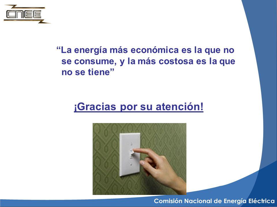 ¡Gracias por su atención! La energía más económica es la que no se consume, y la más costosa es la que no se tiene