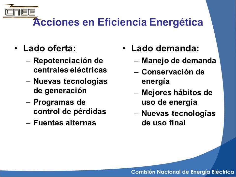 Acciones en Eficiencia Energética Lado oferta: –Repotenciación de centrales eléctricas –Nuevas tecnologías de generación –Programas de control de pérd