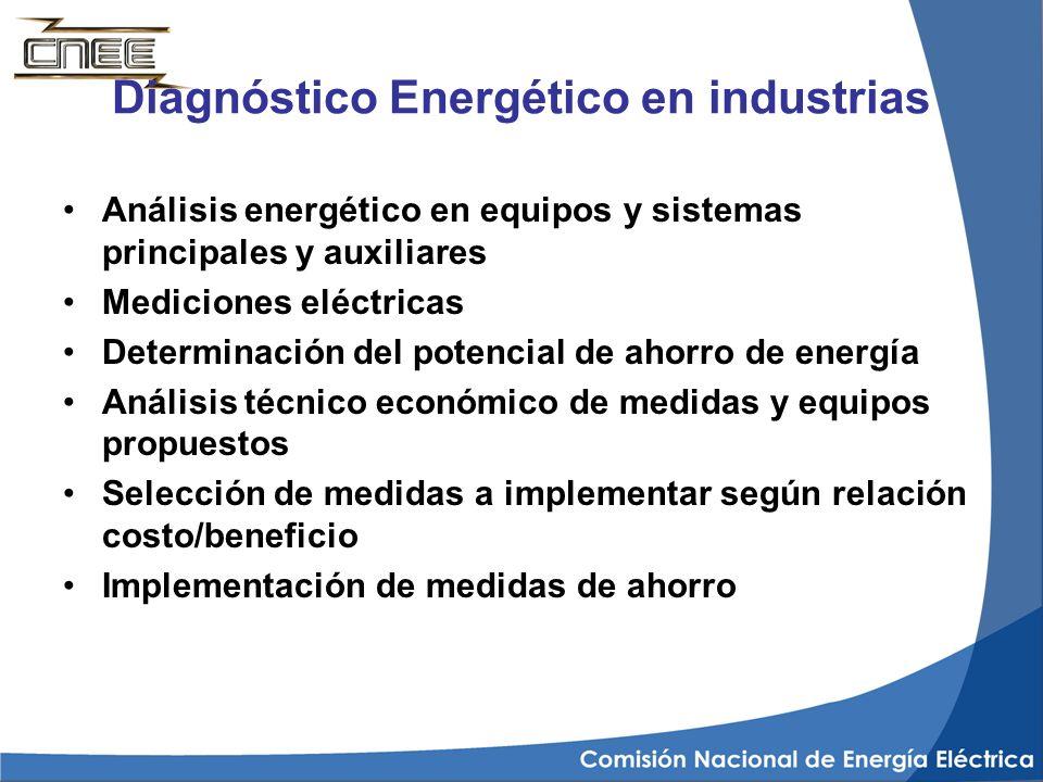 Diagnóstico Energético en industrias Análisis energético en equipos y sistemas principales y auxiliares Mediciones eléctricas Determinación del potenc