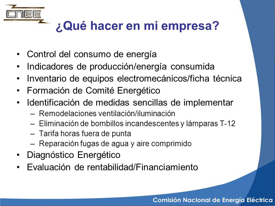 ¿Qué hacer en mi empresa? Control del consumo de energía Indicadores de producción/energía consumida Inventario de equipos electromecánicos/ficha técn