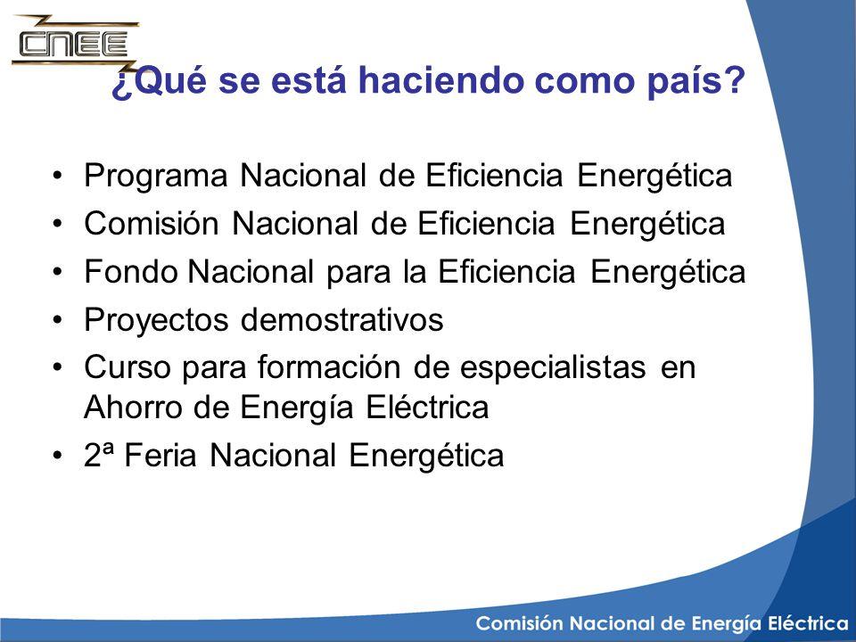 ¿Qué se está haciendo como país? Programa Nacional de Eficiencia Energética Comisión Nacional de Eficiencia Energética Fondo Nacional para la Eficienc