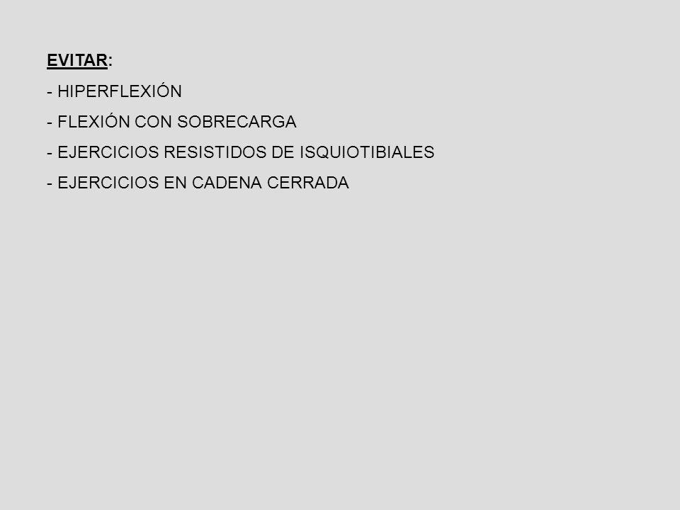 EVITAR: - HIPERFLEXIÓN - FLEXIÓN CON SOBRECARGA - EJERCICIOS RESISTIDOS DE ISQUIOTIBIALES - EJERCICIOS EN CADENA CERRADA