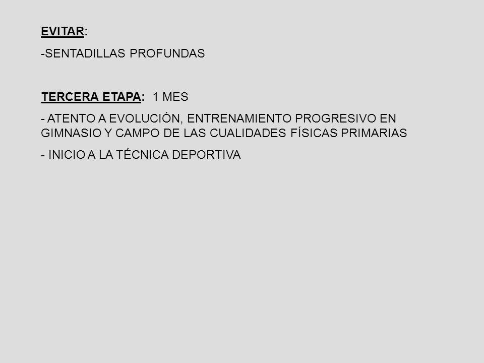 EVITAR: -SENTADILLAS PROFUNDAS TERCERA ETAPA: 1 MES - ATENTO A EVOLUCIÓN, ENTRENAMIENTO PROGRESIVO EN GIMNASIO Y CAMPO DE LAS CUALIDADES FÍSICAS PRIMARIAS - INICIO A LA TÉCNICA DEPORTIVA