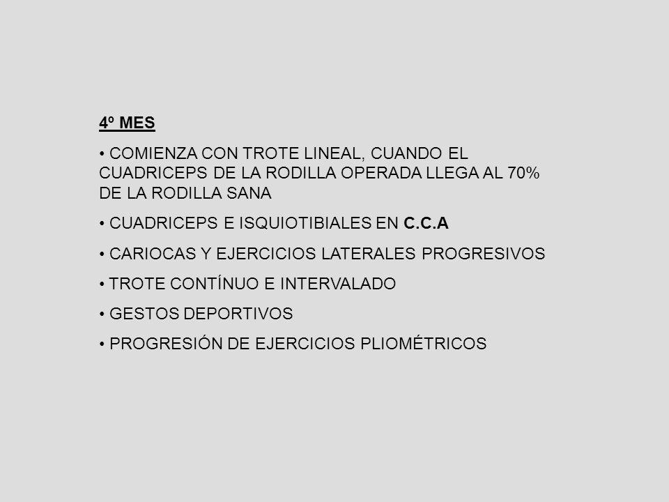 4º MES COMIENZA CON TROTE LINEAL, CUANDO EL CUADRICEPS DE LA RODILLA OPERADA LLEGA AL 70% DE LA RODILLA SANA CUADRICEPS E ISQUIOTIBIALES EN C.C.A CARIOCAS Y EJERCICIOS LATERALES PROGRESIVOS TROTE CONTÍNUO E INTERVALADO GESTOS DEPORTIVOS PROGRESIÓN DE EJERCICIOS PLIOMÉTRICOS