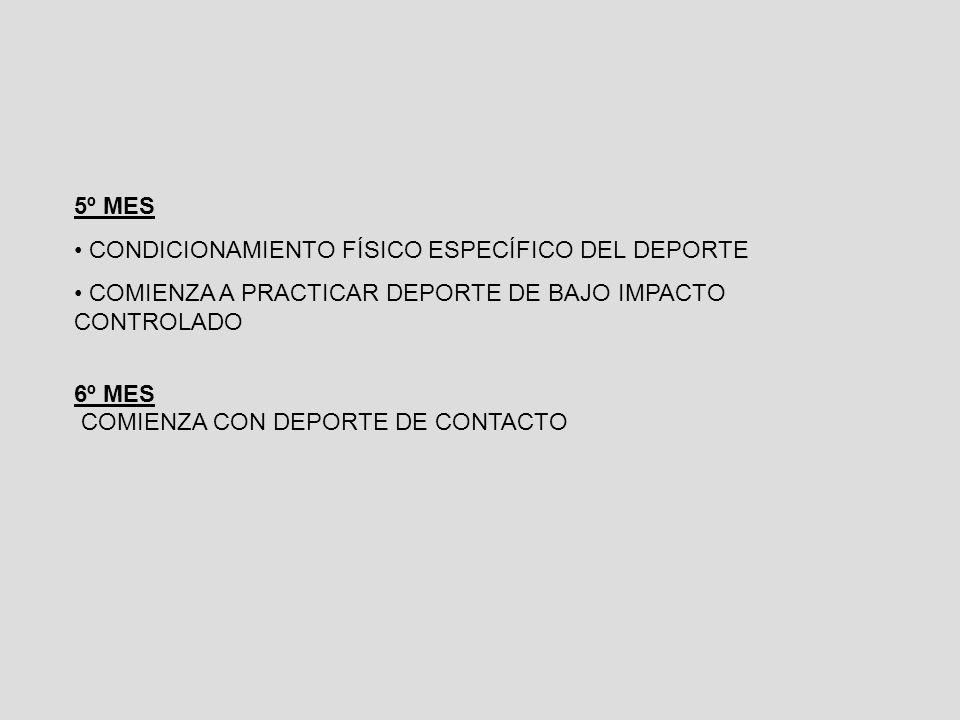 5º MES CONDICIONAMIENTO FÍSICO ESPECÍFICO DEL DEPORTE COMIENZA A PRACTICAR DEPORTE DE BAJO IMPACTO CONTROLADO 6º MES COMIENZA CON DEPORTE DE CONTACTO