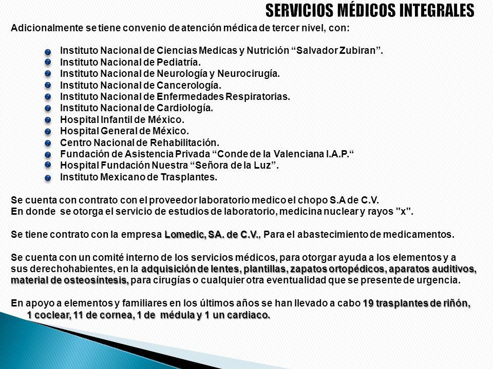 Brinda atención médica integral a los elementos que integran a la corporación así como a sus derechohabientes; desarrolla sus actividades en tres unid