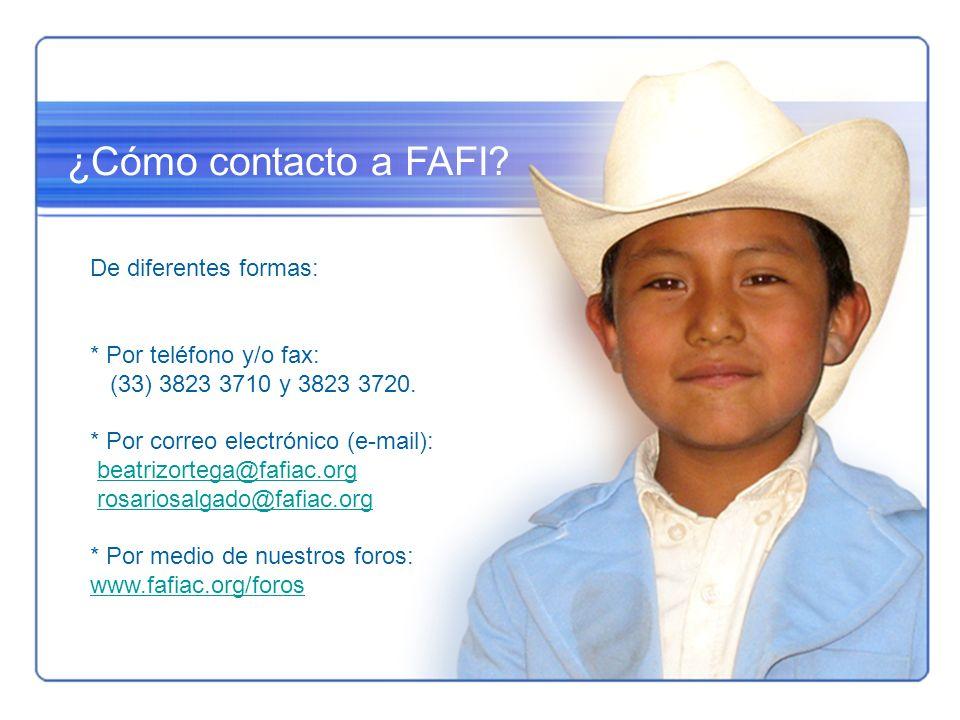 ¿Cómo contacto a FAFI? De diferentes formas: * Por teléfono y/o fax: (33) 3823 3710 y 3823 3720. * Por correo electrónico (e-mail): beatrizortega@fafi