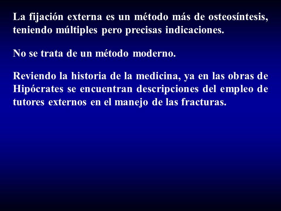 La fijación externa es un método más de osteosíntesis, teniendo múltiples pero precisas indicaciones. No se trata de un método moderno. Reviendo la hi