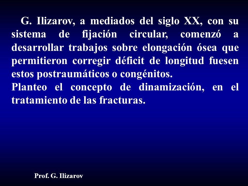 G. Ilizarov, a mediados del siglo XX, con su sistema de fijación circular, comenzó a desarrollar trabajos sobre elongación ósea que permitieron correg