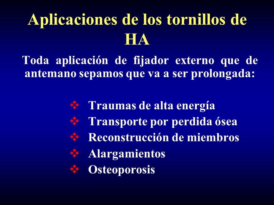 Aplicaciones de los tornillos de HA Toda aplicación de fijador externo que de antemano sepamos que va a ser prolongada: Traumas de alta energía Transporte por perdida ósea Reconstrucción de miembros Alargamientos Osteoporosis
