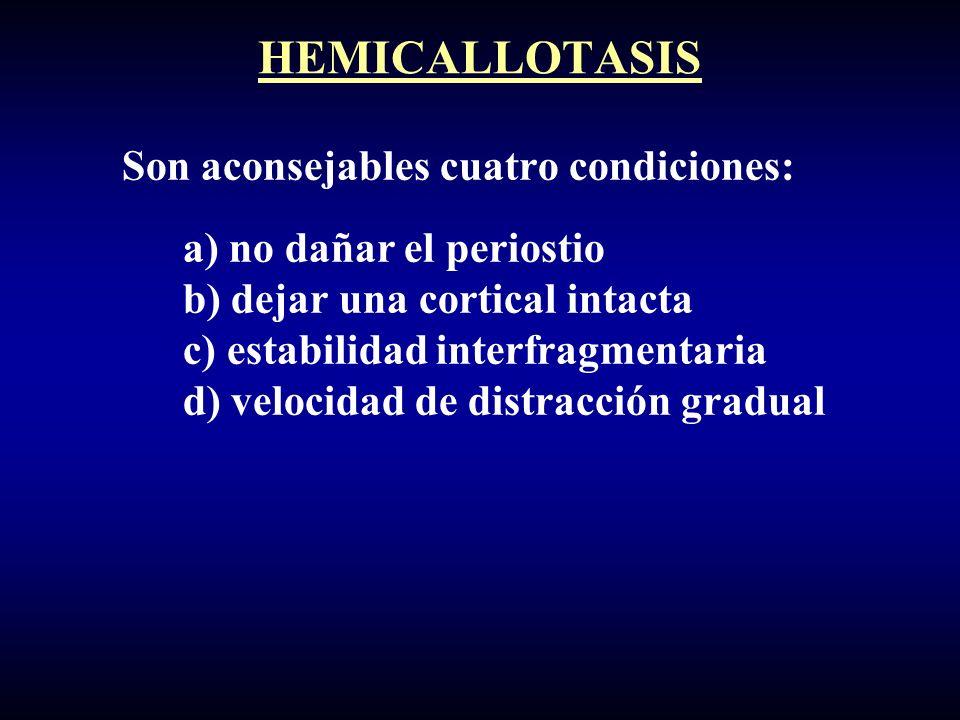 Son aconsejables cuatro condiciones: a) no dañar el periostio b) dejar una cortical intacta c) estabilidad interfragmentaria d) velocidad de distracción gradual HEMICALLOTASIS