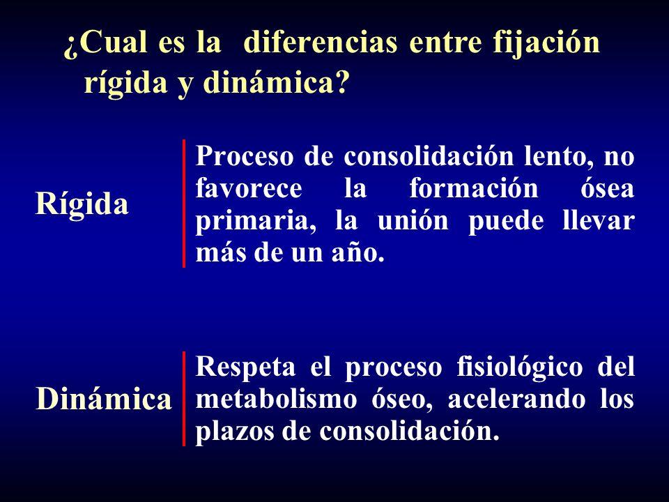 Diferencias en la formación del callo entre fijación rígida y dinámica: R: fijación rígida D: dinamización + carga controlada RD En nuestra experiencia hemos observado