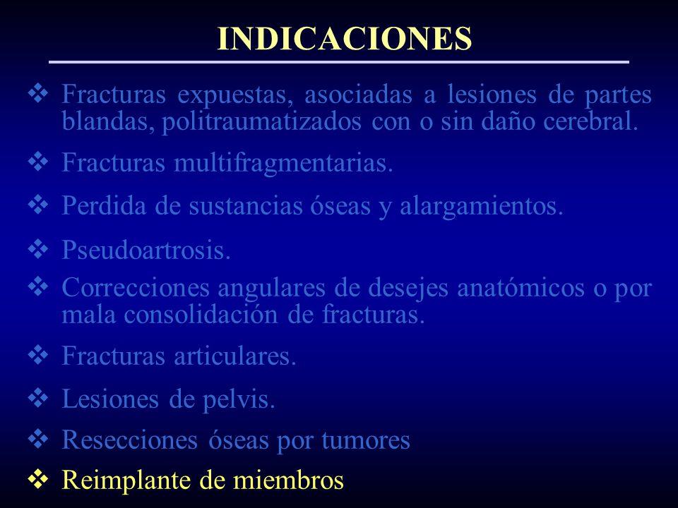 Fracturas expuestas, asociadas a lesiones de partes blandas, politraumatizados con o sin daño cerebral. Fracturas multifragmentarias. Perdida de susta