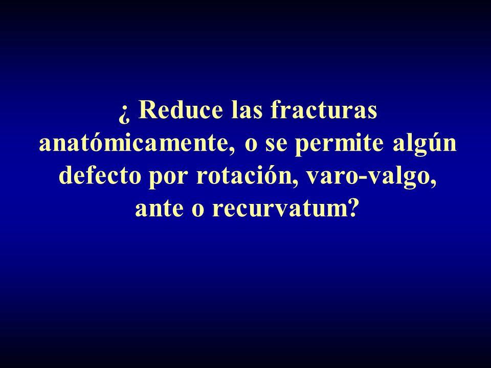 ¿ Reduce las fracturas anatómicamente, o se permite algún defecto por rotación, varo-valgo, ante o recurvatum?